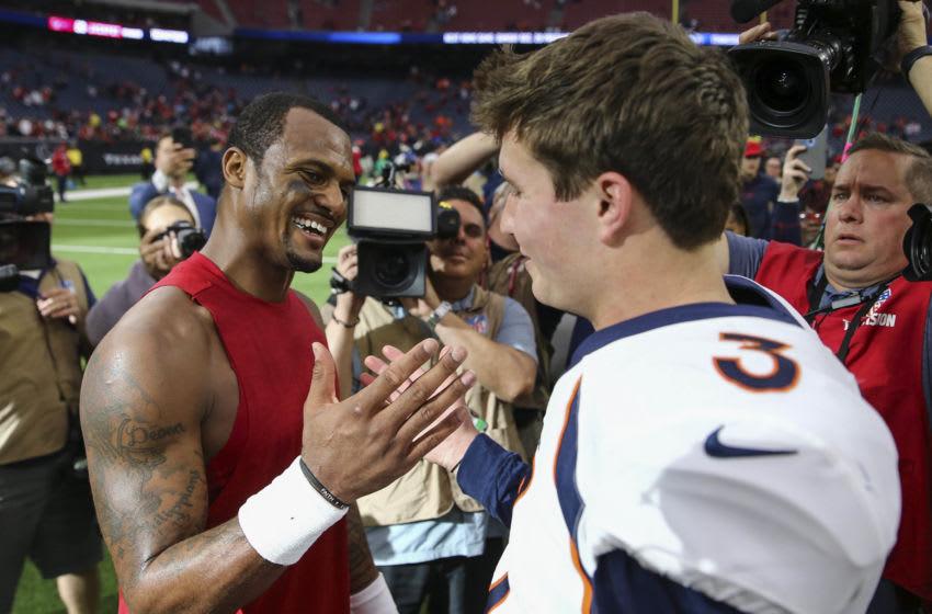 Houston Texans quarterback Deshaun Watson (4) and Denver Broncos quarterback Drew Lock (3) Mandatory Credit: Troy Taormina-USA TODAY Sports