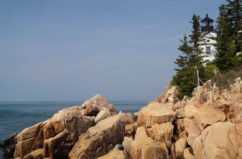 Located in the Acadia National Park area, Bass Harbor Light offers views of the seaboard off a rock ledge.