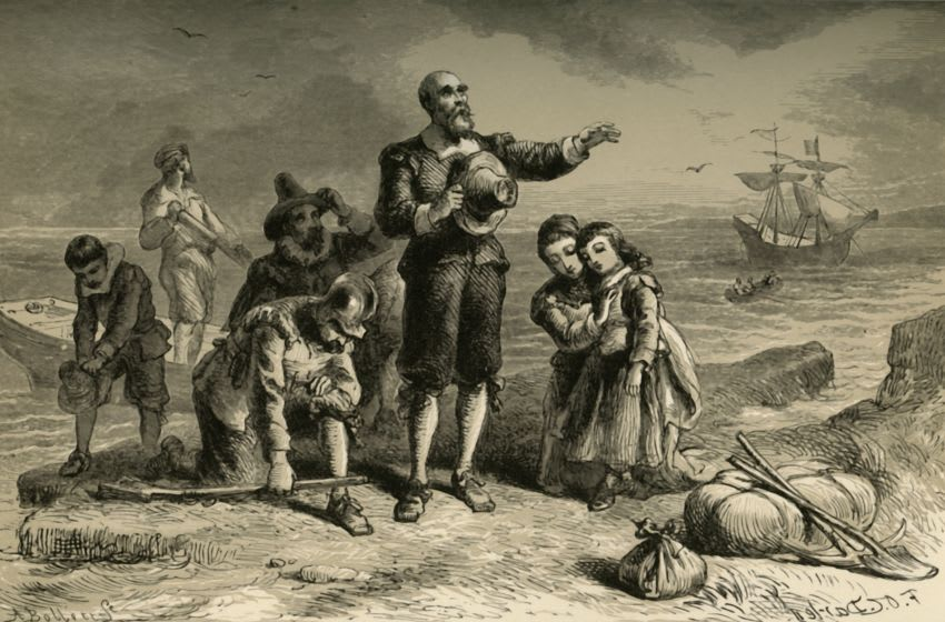 Landing of the Pilgrims', (1877). In 1620, a group of Puritans left Plymouth in England on 'The Mayflower' and arrived on the east coast of what is now the United States of America. Their landing site is known as Plymouth Rock. The settlers founded the Plymouth Colony in Massachusetts. From