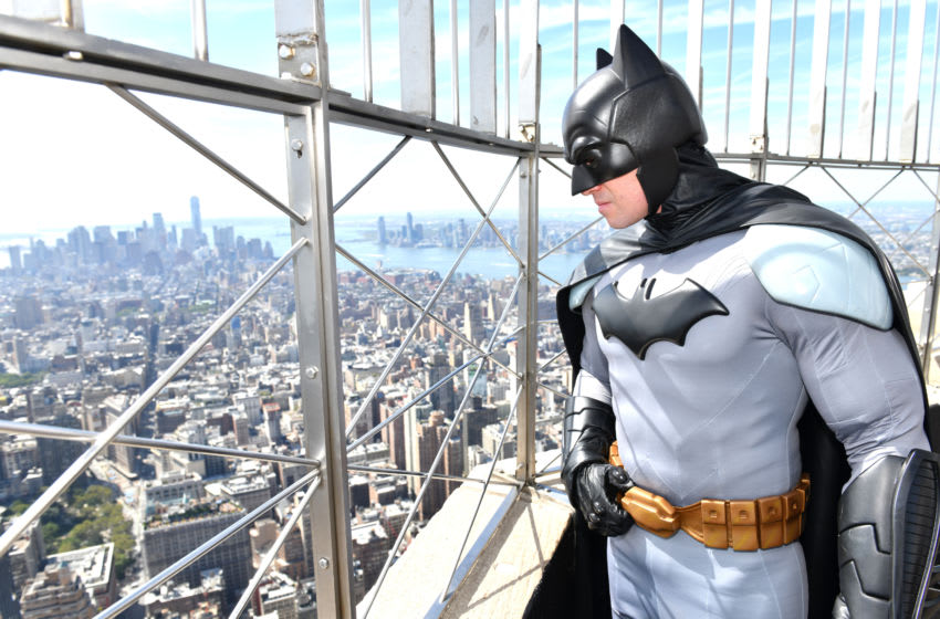 NEW YORK, NEW YORK - SEPTEMBER 20: Batman celebrated his 80th birthday by visiting Gotham's most iconic sky scraper, the Empire State Building with Dan DiDio, Executive Vice President and Publisher of DC Comics at The Empire State Building on September 20, 2019 in New York City. (Photo by Craig Barritt/Getty Images for Warner Bros. Consumer Products)