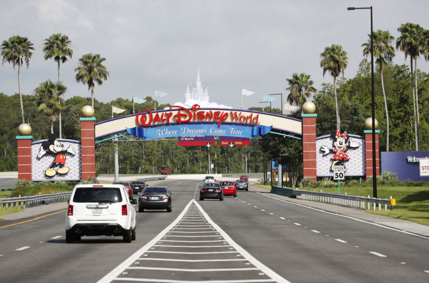 LAKE BUENA VISTA, FL - JULY 11: A view of the Walt Disney World theme park entrance on July 11, 2020 in Lake Buena Vista, Florida. The theme park reopened despite a surge in new COVID-19 infections throughout Florida, including the central part of the state where Orlando is located. (Photo by Octavio Jones/Getty Images)