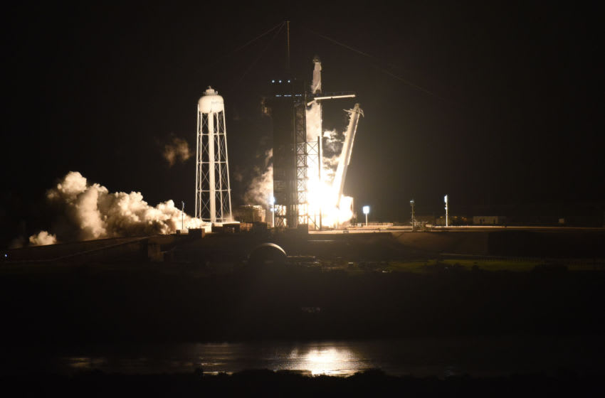 CAPE CANAVERAL, FL - NOVEMBER 15: The SpaceX Falcon 9 rocket with the manned Crew Dragon spacecraft attached lifts off from launch pad 39A at the Kennedy Space Center on November 15, 2020 in Cape Canaveral, Florida. NASA astronauts mission specialist Shannon Walker, vehicle pilot Victor Glover, commander Mike Hopkins and mission specialist Japanese Agency astronaut Soichi Noguchi are on board the Crew Dragon Spacecraft and will mark the second astronaut launch from U.S. soil by NASA and SpaceX and the first operational mission named Crew-1 to the International Space Station. (Photo by Red Huber/Getty Images)