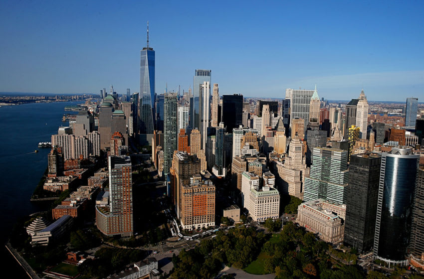 NEW YORK, NEW YORK - SEPTEMBER 22: Aerial view of Downtown Manhattan, New York City with the Skyline of the Financial District and 1WTC captured from above on September 22, 2020 in New York City. (Photo by Dominik Bindl/Getty Images)