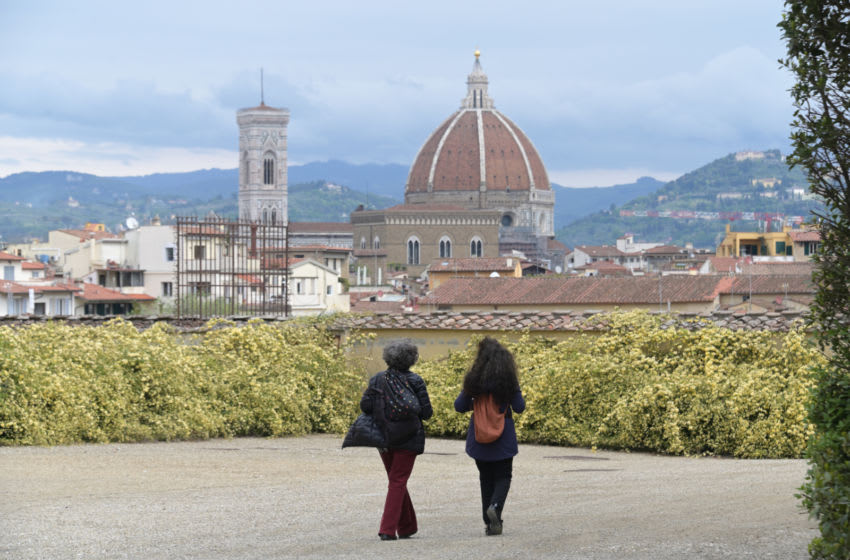 FLORENCE, ITALY - APRIL 27: it is seen at the entrance of the Boboli gardens tourists admiring the Florentine panorama on the day of the reopening, on April 27, 2021 in Florence, Italy. Cafes, bars, restaurants, cinemas and concert halls will partially reopen across Italy in a boost for coronavirus-hit businesses, as parliament debates the government's 220-billion-euro ($266-billion) EU-funded recovery plan, the biggest in Europe so far. (Photo by Paolo Lo Debole/Getty Images)