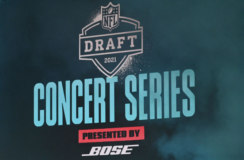 CLEVELAND, OHIO - MAY 01: A digital screen with NFL Draft 2021 Concert Series presented by BOSE is shown on display before Machine Gun Kelly performs onstage after the final round of the 2021 NFL Draft at the Great Lakes Science Center on May 01, 2021 in Cleveland, Ohio. (Photo by Duane Prokop/Getty Images)