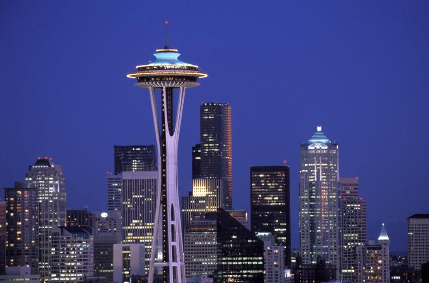 UNITED STATES - 1990/01/01: USA, Washington, Seattle Skyline At Night. (Photo by Wolfgang Kaehler/LightRocket via Getty Images)