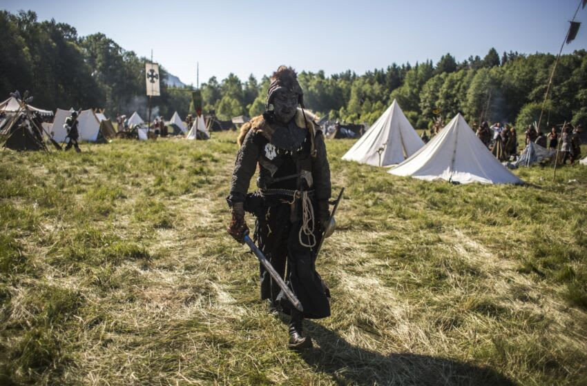 DOKSY, CZECH REPUBLIC - JUNE 06: A participant dressed as orc, character from