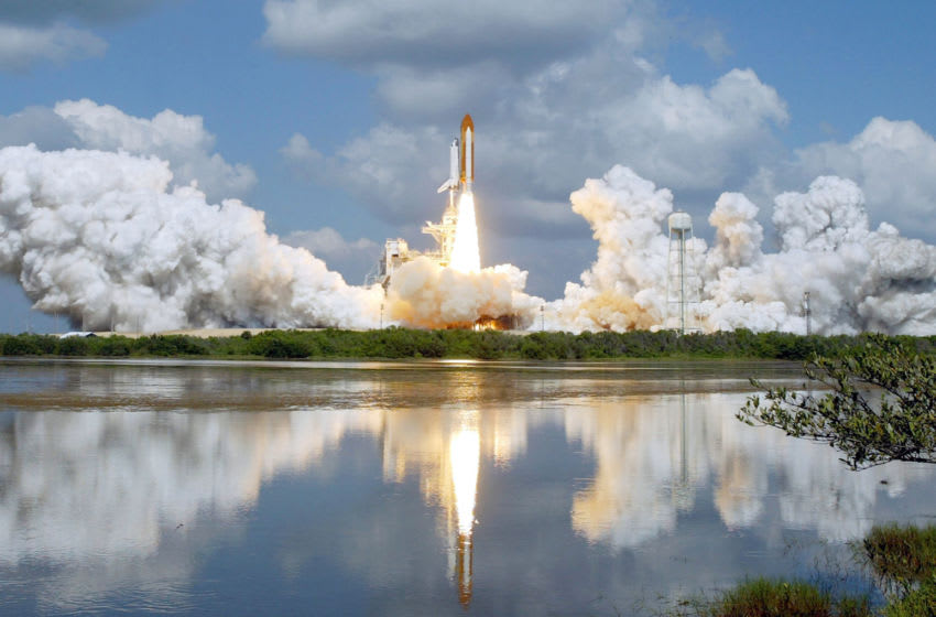 CAPE CANAVERAL, FL - JULY 26: The Space Shuttle Discovery lifts off of launch pad 39B at the Kennedy Space Center July 26, 2005, in Cape Canaveral, Florida. Discovery marks NASA's Return to Flight mission, two and a half years after the break-up of Shuttle Columbia. (Photo by Mark Wilson/Getty Images)