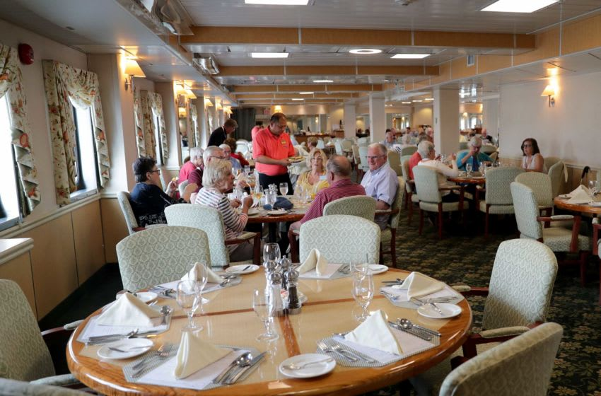 Passengers eat lunch in a dining area on the Pearl Mist, a Great Lakes cruise ship docked at North Harbor Drive near Discovery World in Milwaukee on Tuesday, June 11, 2019. Interest in cruising on the Great Lakes, and stopping in Milwaukee's port, is growing.At least 11 cruise ship stops are booked for summer 2019 compared with two to four stops in recent years. Photo by Mike De Sisti and Jim Nelson/Milwaukee Journal Sentinel Cruise 03578 Passengers eat lunch in a dining area on the Pearl Mist, a Great Lakes cruise ship docked at North Harbor Drive near Discovery World in Milwaukee on Tuesday, June 11, 2019. Interest in cruising on the Great Lakes, and stopping in Milwaukee's port, is growing.A A At least 11 cruise ship stops are booked for summer 2019 compared with two to four stops in recent years. Photo by Mike De Sisti and Jim Nelson/Milwaukee Journal Sentinel