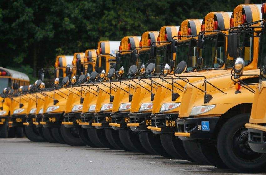 School buses sit in line at the bus garage in Tuscaloosa Wednesday, August 10, 2016, waiting for the beginning of school. Staff Photo/Gary Cosby Jr. Getting Busses Ready