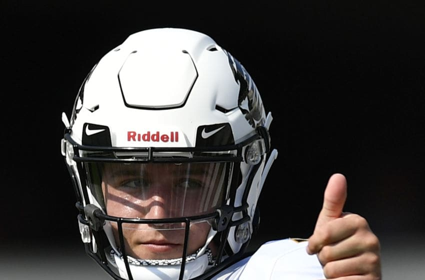 COLUMBIA, SC - OCTOBER 06: Quarterback Drew Lock #3 of the Missouri Tigers shows a thumbs up as he warms up prior to the game against the South Carolina Gamecocks at Williams-Brice Stadium on October 6, 2018 in Columbia, South Carolina. (Photo by Mike Comer/Getty Images)