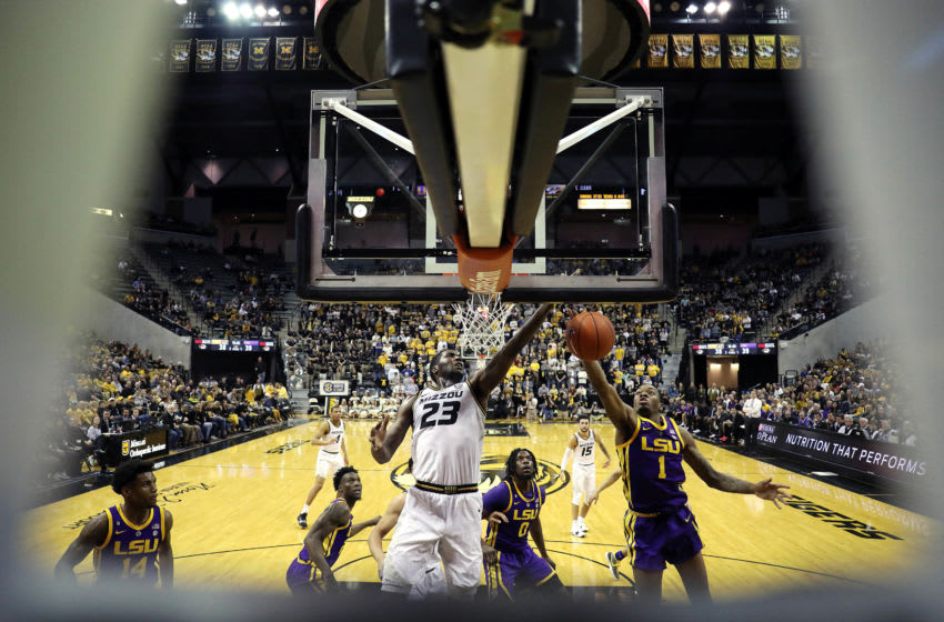 COLUMBIA, MISSOURI - JANUARY 26: Jeremiah Tilmon #23 of the Missouri Tigers and Ja'vonte Smart #1 of the LSU Tigers compete for a rebound during the game at Mizzou Arena on January 26, 2019 in Columbia, Missouri. (Photo by Jamie Squire/Getty Images)