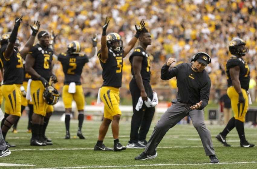 COLUMBIA, MO - SEPTEMBER 21: Head coach Barry Odom of the Missouri Tigers reacts after an official review was ruled a Missouri Tigers touchdown against the South Carolina Gamecocks at Faurot Field/Memorial Stadium on September 21, 2019 in Columbia, Missouri. (Photo by David Eulitt/Getty Images)