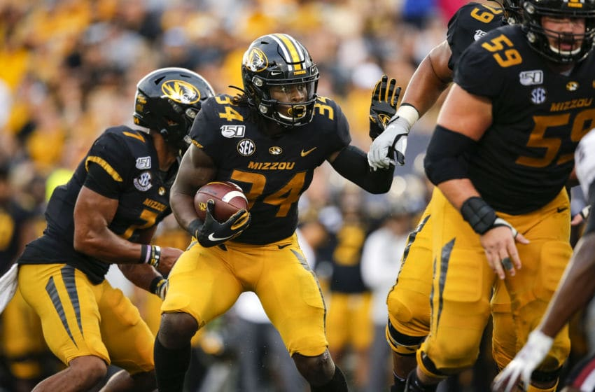 COLUMBIA, MO - SEPTEMBER 21: Larry Rountree III #34 of the Missouri Tigers looks for an opening during a fourth quarter run against the South Carolina Gamecocks at Faurot Field/Memorial Stadium on September 21, 2019 in Columbia, Missouri. (Photo by David Eulitt/Getty Images)