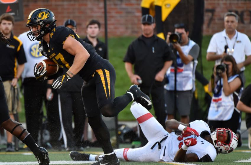 COLUMBIA, MISSOURI - SEPTEMBER 14: Linebacker Cale Garrett #47 of the Missouri Tigers intercepts a pass intended for wide receiver Aaron Alston #85 of the Southeast Missouri State Redhawks and returns it for a touchdown during the first half at Faurot Field/Memorial Stadium on September 14, 2019 in Columbia, Missouri. (Photo by Ed Zurga/Getty Images)