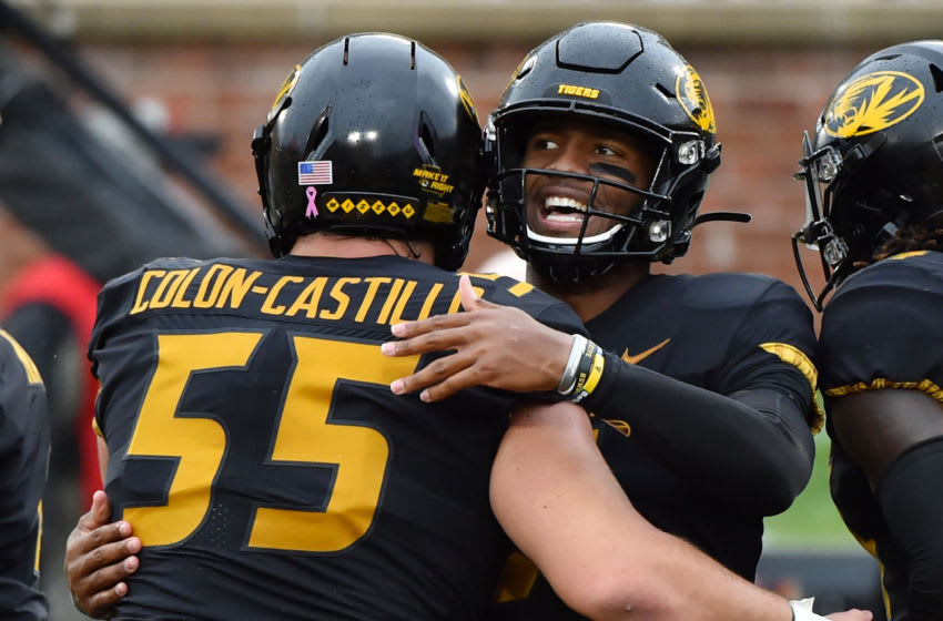 COLUMBIA, MISSOURI - OCTOBER 05: Quarterback Kelly Bryant (B) of the Missouri Tigers celebrates his touchdown run with Trystan Colon-Castillo #55 against the Troy Trojans in the first quarter at Faurot Field/Memorial Stadium on October 05, 2019 in Columbia, Missouri. (Photo by Ed Zurga/Getty Images)