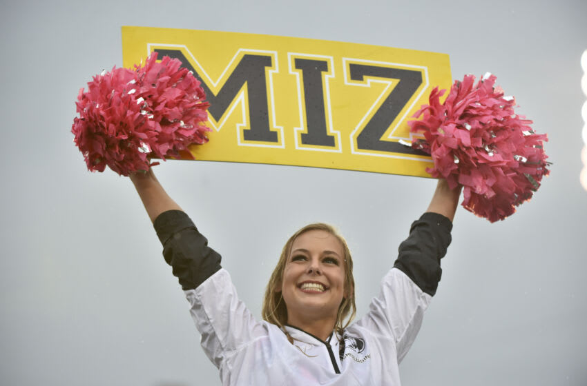 COLUMBIA, MO - OCTOBER 5: A Missouri Tigers cheerleader entertains against the Troy Trojans at Memorial Stadium on October 5, 2019 in Columbia, Missouri. (Photo by Ed Zurga/Getty Images)