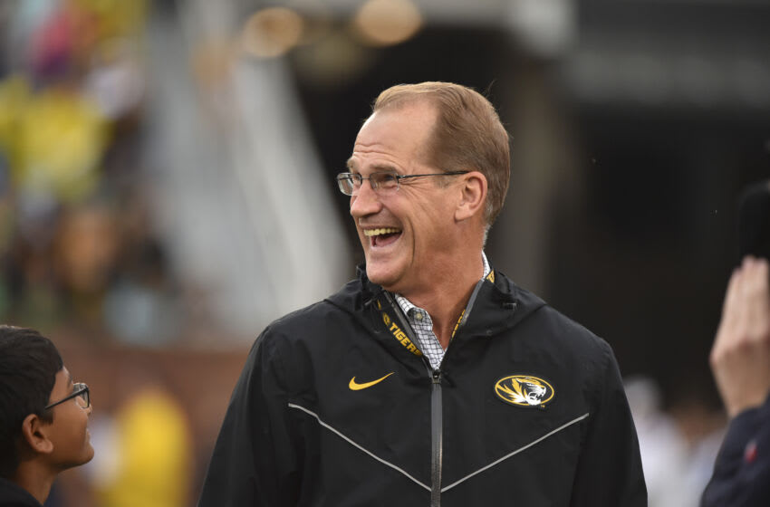COLUMBIA, MO - OCTOBER 5: Athletic director Jim Sterk of the Missouri Tigers watch against the Troy Trojans at Memorial Stadium on October 5, 2019 in Columbia, Missouri. (Photo by Ed Zurga/Getty Images)