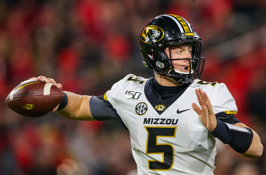 ATHENS, GA - NOVEMBER 9: Taylor Powell #5 of the Missouri Tigers looks to pass during the first half of a game against the Georgia Bulldogs at Sanford Stadium on November 9, 2019 in Athens, Georgia. (Photo by Carmen Mandato/Getty Images)