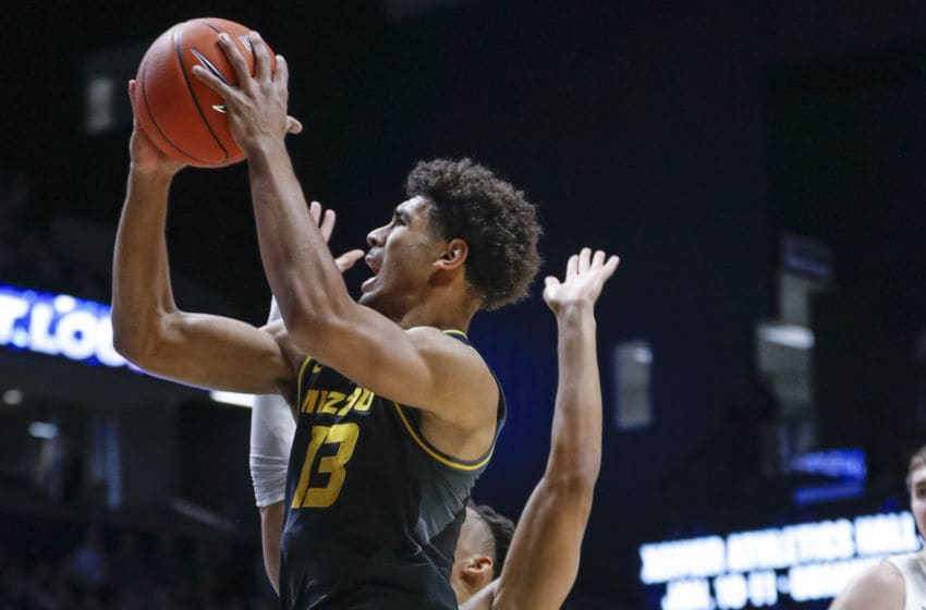 CINCINNATI, OH - NOVEMBER 12: Mark Smith #13 of the Missouri Tigers shoots the ball during the first half against the Xavier Musketeers at Cintas Center on November 12, 2019 in Cincinnati, Ohio. (Photo by Michael Hickey/Getty Images)