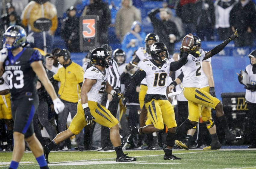 LEXINGTON, KY - OCTOBER 26: Joshuah Bledsoe #18 of the Missouri Tigers celebrates after recovering a fumble against the Kentucky Wildcats in the second half of the game at Kroger Field on October 26, 2019 in Lexington, Kentucky. (Photo by Joe Robbins/Getty Images)