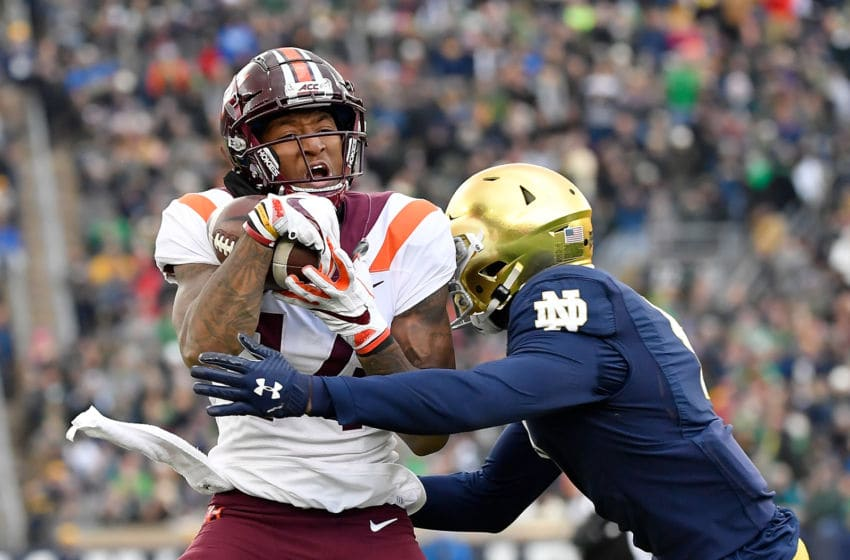 SOUTH BEND, INDIANA - NOVEMBER 02: Damon Hazelton #14 of the Virginia Tech Hokies catches a pass in the first half against the Notre Dame Fighting Irish at Notre Dame Stadium on November 02, 2019 in South Bend, Indiana. (Photo by Quinn Harris/Getty Images)