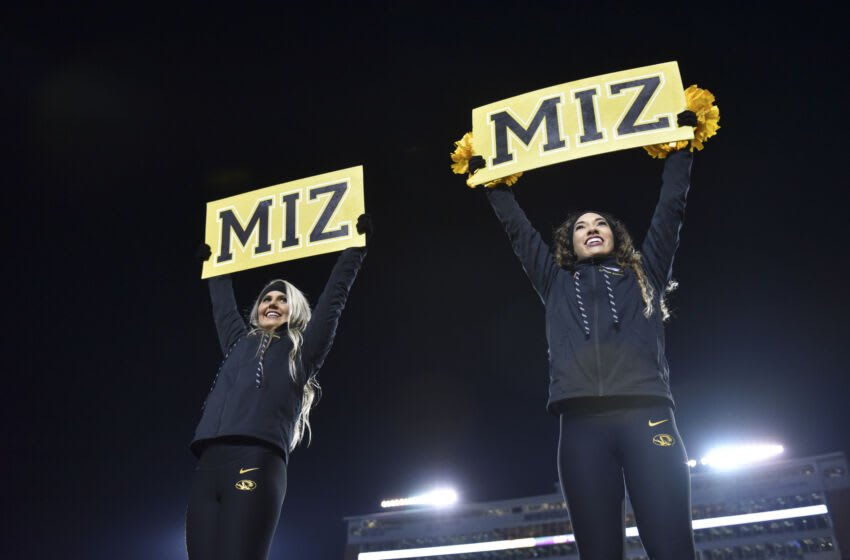 COLUMBIA, MO - NOVEMBER 23: A Missouri Tigers cheerleaders are seen against the Tennessee Volunteers at Memorial Stadium on November 23, 2019 in Columbia, Missouri. (Photo by Ed Zurga/Getty Images)