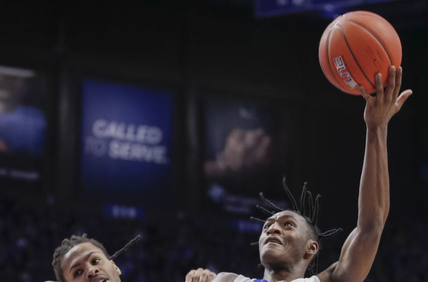 LEXINGTON, KY - JANUARY 04: Immanuel Quickley #5 of the Kentucky Wildcats shoots the ball against Mitchell Smith #5 of the Missouri Tigers during the second half at Rupp Arena on January 4, 2020 in Lexington, Kentucky. (Photo by Michael Hickey/Getty Images)