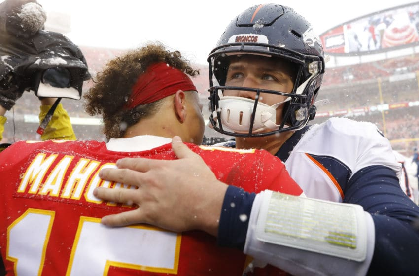 KANSAS CITY, MISSOURI - DECEMBER 15: Drew Lock #3 of the Denver Broncos greets Patrick Mahomes #15 of the Kansas City Chiefs following their game at Arrowhead Stadium on December 15, 2019 in Kansas City, Missouri. (Photo by David Eulitt/Getty Images)