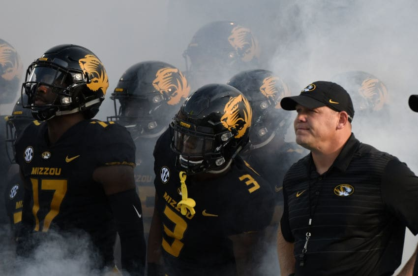 COLUMBIA, MO - SEPTEMBER 9: Barry Odom head coach of the Missouri Tigers waits with his team as the prepare to take to the field prior to a game against the South Carolina Gamecocks quarter at Memorial Stadium on September 9, 2017 in Columbia, Missouri. (Photo by Ed Zurga/Getty Images)