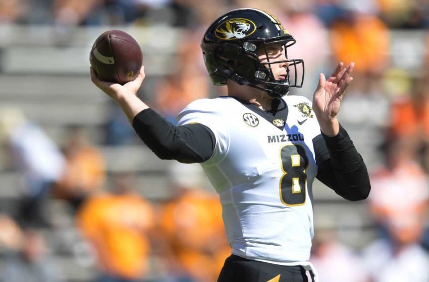 Missouri quarterback Connor Bazelak (8) throws a pass down field in the third quarter during a game between Tennessee and Missouri at Neyland Stadium in Knoxville, Tenn. on Saturday, Oct. 3, 2020. 100320 Tenn Mo Jpg