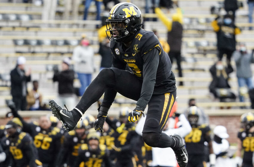 Dec 12, 2020; Columbia, Missouri, USA; Missouri Tigers safety Martez Manuel (3) celebrates after a sack against the Georgia Bulldogs during the first half at Faurot Field at Memorial Stadium. Mandatory Credit: Jay Biggerstaff-USA TODAY Sports
