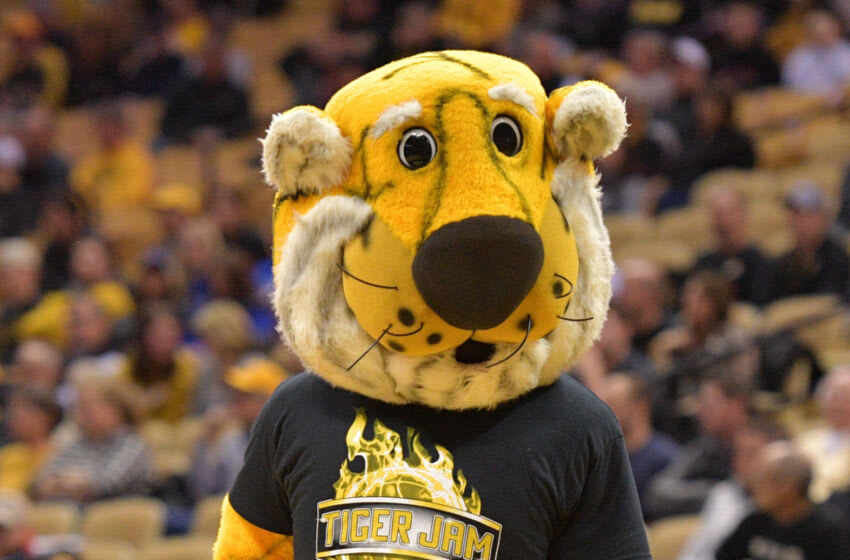 Feb 19, 2019; Columbia, MO, USA; The Missouri Tigers mascot Truman entertains fans during the game against the Kentucky Wildcats at Mizzou Arena. Mandatory Credit: Denny Medley-USA TODAY Sports
