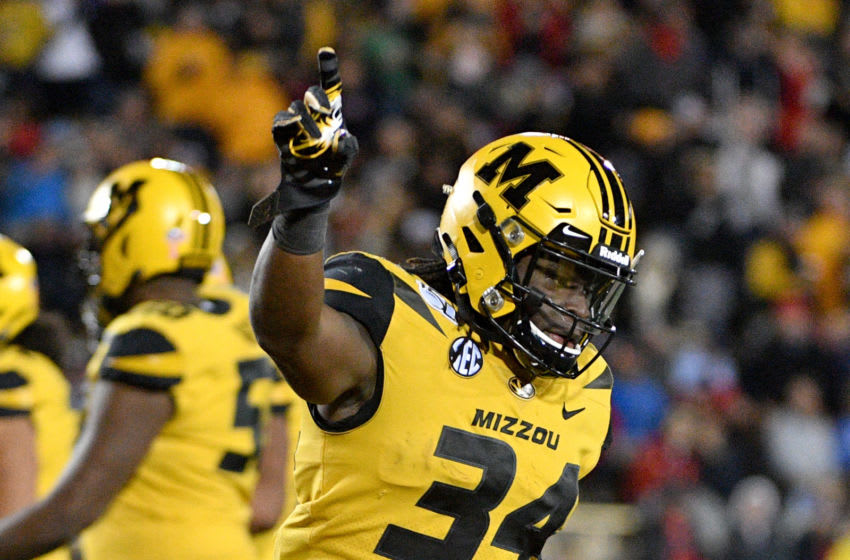 Oct 12, 2019; Columbia, MO, USA; Missouri Tigers running back Larry Rountree III (34) celebrates after scoring a touchdown during the second half against the Mississippi Rebels at Memorial Stadium/Faurot Field. Mandatory Credit: Denny Medley-USA TODAY Sports