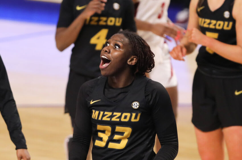 Mar 4, 2021; Greenville, SC, USA; Missouri Tigers guard Aijha Blackwell (33) reacts against the Alabama Crimson Tide during the second half at Bon Secours Wellness Arena. Mandatory Credit: Dawson Powers-USA TODAY Sports