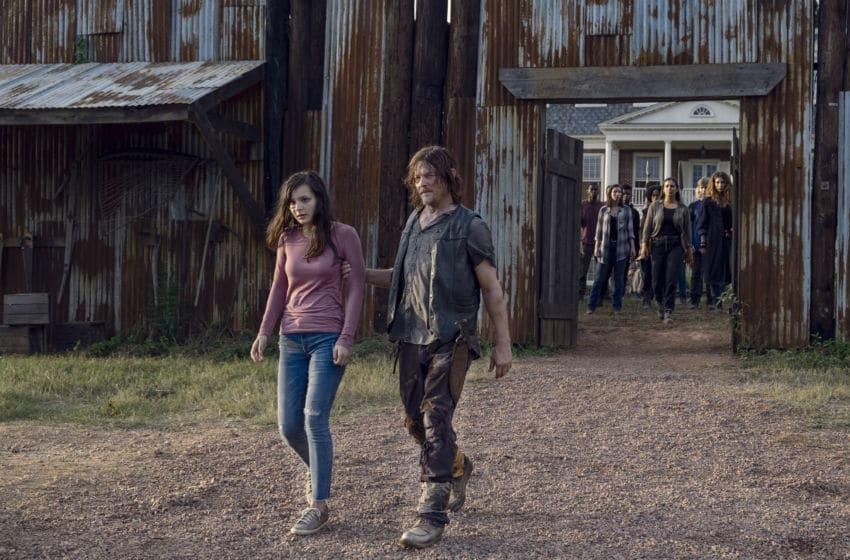 Norman Reedus as Daryl Dixon, Alanna Masterson as Tara Chambler, Katelyn Nacon as Enid, Cassady McClincy as Lydia- The Walking Dead _ Season 9, Episode 11 - Photo Credit: Gene Page/AMC