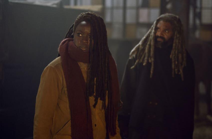 Danai Gurira as Michonne, Khary Payton as Ezekiel- The Walking Dead _ Season 9, Episode 16 - Photo Credit: Gene Page/AMC