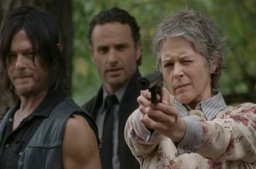 Daryl Dixon (Norman Reedus), Rick Grimes (Andrew Lincoln) and Carol Peletier (Melissa McBride), The Walking Dead, AMC, via Screencapped.net