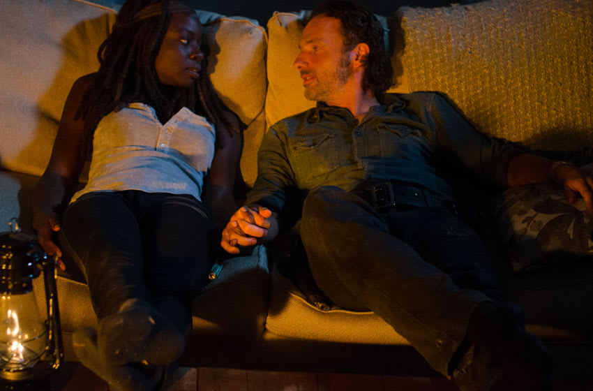 Danai Gurira as Michonne and Andrew Lincoln as Rick Grimes - The Walking Dead _ Season 6, Episode 10 - Photo Credit: Gene Page/AMC