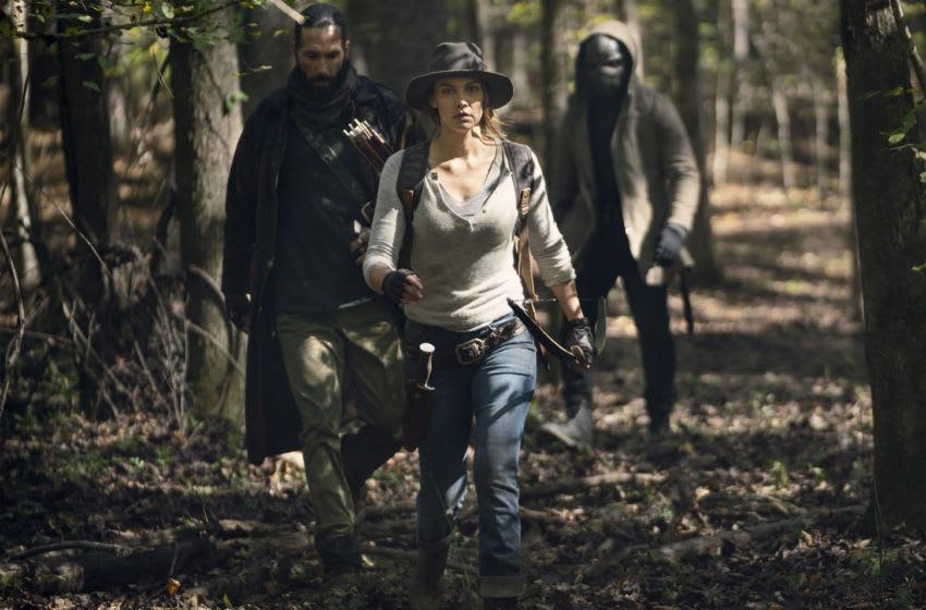 Lauren Cohan as Maggie, Okea Eme-Akwari as Elijah, James Devoti as Cole - The Walking Dead _ Season 10, Episode 17 - Photo Credit: Eli Ade/AMC
