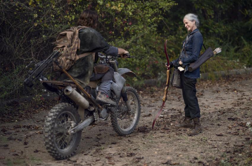 Norman Reedus as Daryl Dixon, Melissa McBride as Carol Peletier - The Walking Dead _ Season 10, Episode 18 - Photo Credit: Eli Ade/AMC