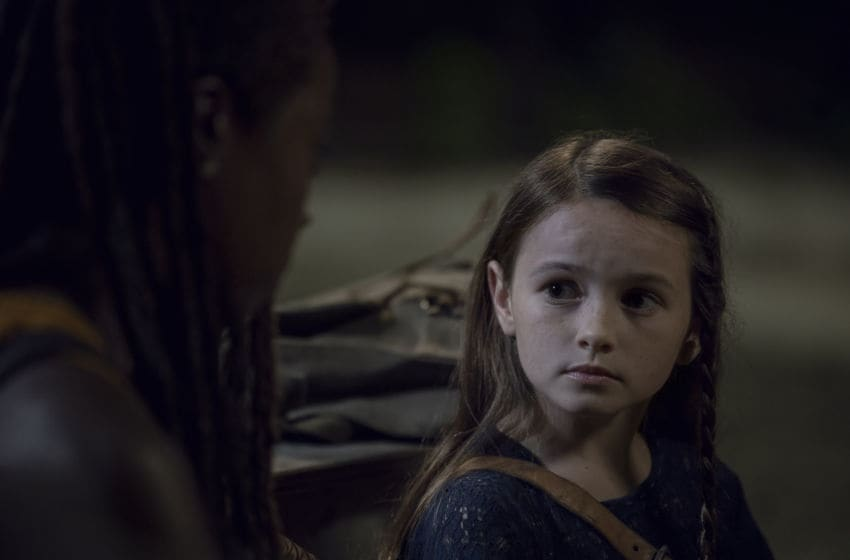 Cailey Fleming as Judith Grimes, Danai Gurira as Michonne - The Walking Dead _ Season 10, Episode 8 - Photo Credit: Gene Page/AM8