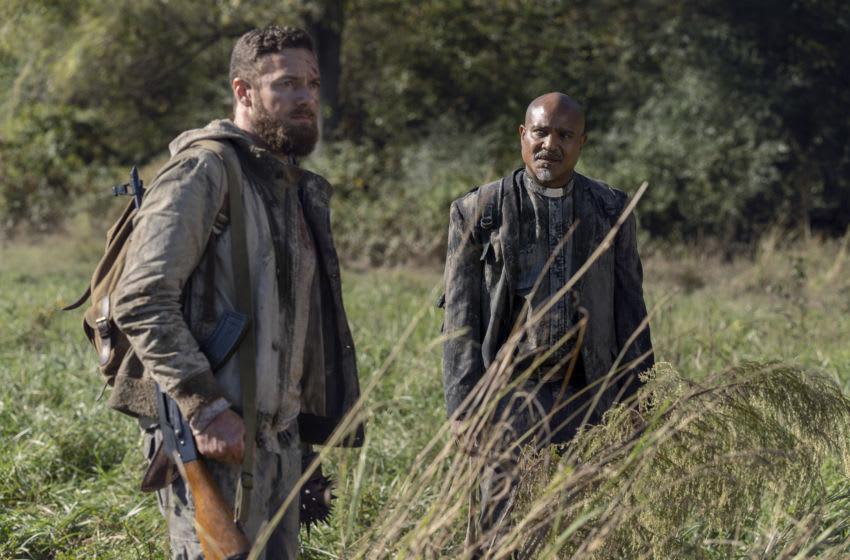 Seth Gilliam as Gabriel, Ross Marquand as Aaron - The Walking Dead _ Season 10, Episode 19 - Photo Credit: Josh Stringer/AMC