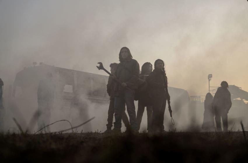 Alexa Mansour as Hope, Aliyah Royale as Iris, Hal Cumpston as Silas, Nicolas Cantu as Elton - The Walking Dead: World Beyond _ Season 1 - Photo Credit: Jojo Whilden/AMC