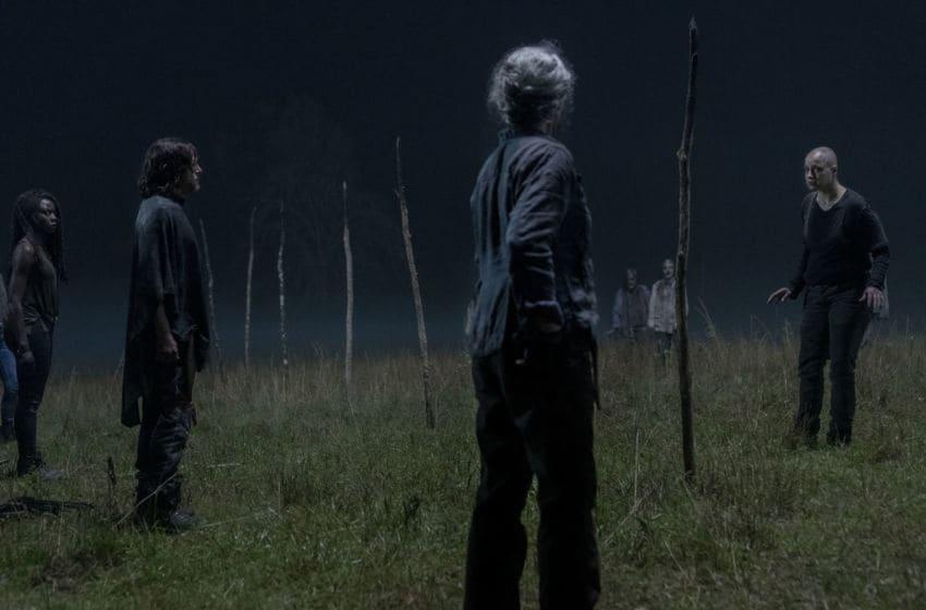 Melissa McBride as Carol Peletier, Norman Reedus as Daryl Dixon, Danai Gurira as Michonne, Samantha Morton as Alpha - The Walking Dead _ Season 10, Episode 3 - Photo Credit: Jackson Lee Davis/AMC