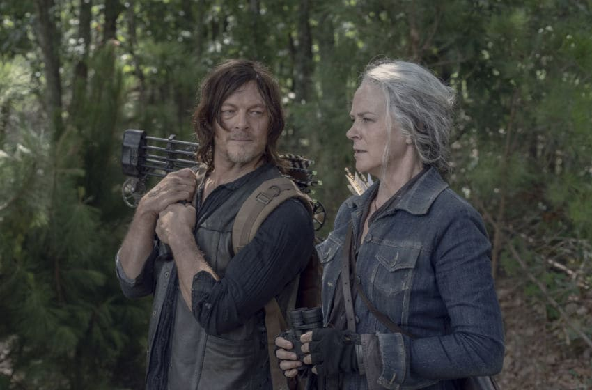 Melissa McBride as Carol Peletier, Norman Reedus as Daryl Dixon; group - The Walking Dead _ Season 10, Episode 6 - Photo Credit: Jace Downs/AMC