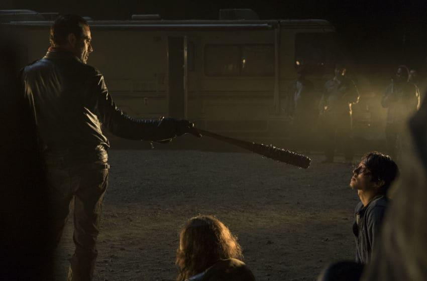 Jeffrey Dean Morgan as Negan, Steven Yeun as Glenn Rhee- The Walking Dead _ Season 7, Episode 1 - Photo Credit: Gene Page/AMC