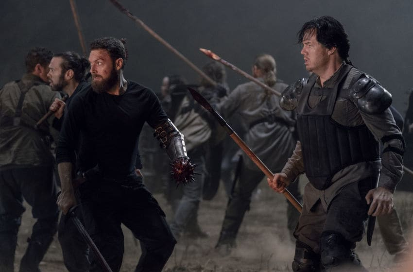 Josh McDermitt as Dr. Eugene Porter, Ross Marquand as Aaron, Christian Serratos as Rosita Espinosa, Dan Fogler as Luke - The Walking Dead _ Season 10, Episode 11 - Photo Credit: Jace Downs/AMC