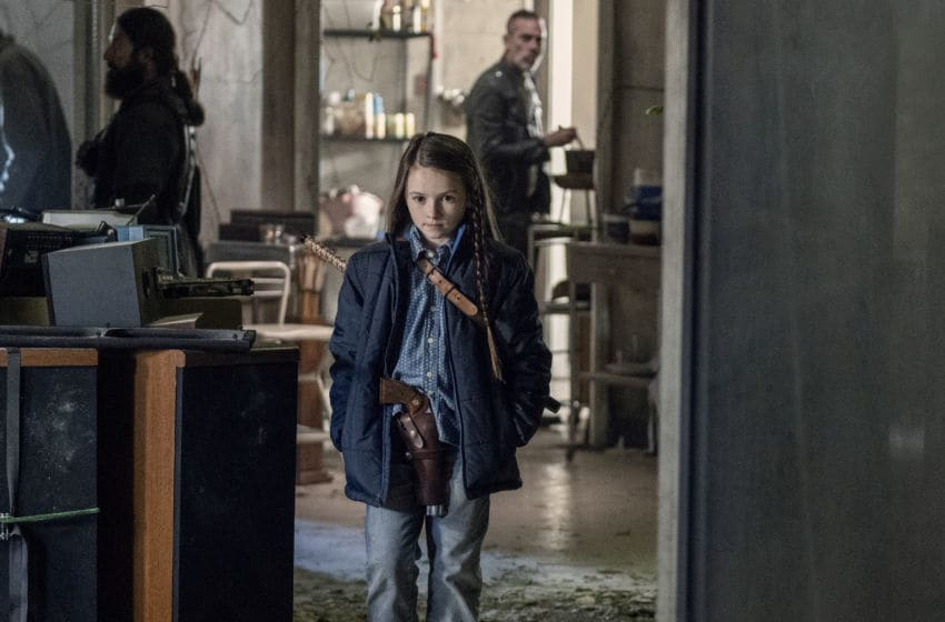 Cailey Fleming as Judith Grimes, Jeffrey Dean Morgan as Negan - The Walking Dead _ Season 10, Episode 15 - Photo Credit: Jace Downs/AMC