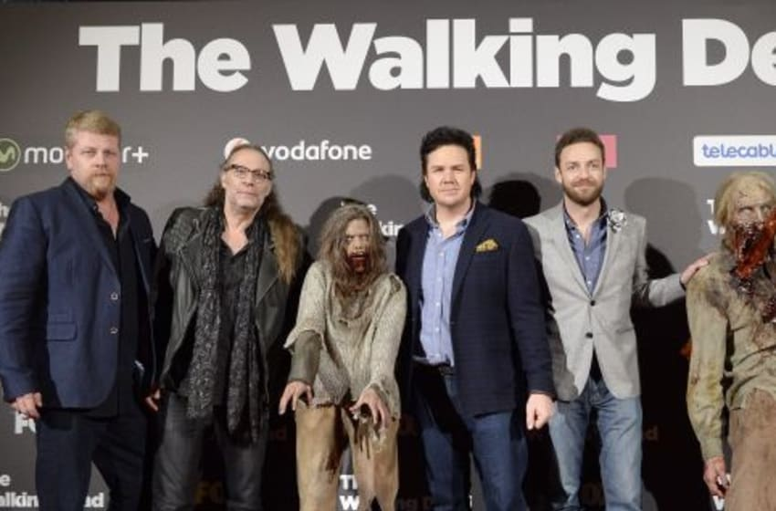 MADRID, SPAIN - FEBRUARY 23: (L-R) Michael Cudlitz, Greg Nicotero, Josh McDermitt and Ross Marquand attend the 'The Walking Dead' fan event at Callao Cinema on February 23, 2016 in Madrid, Spain. (Photo by Fotonoticias/Getty Images)